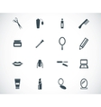 black cosmetics icons set vector image vector image