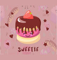 cake with chocolate icing postcard to day of vector image vector image