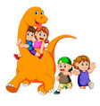 children get into the big apatosaurus body vector image vector image