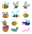 cute bees set clipart bundle with funny colorful vector image