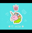 cute cartoon unicorn with crown vector image
