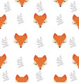 cute fox head with leaves seamless pattern vector image vector image