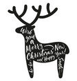 deer silhouette with lettering merry christmas vector image vector image