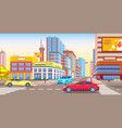 downtown city streets full traffic and cars vector image vector image