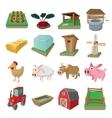 Farm cartoon icons set vector image vector image