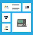 flat icon computer set of vintage hardware pc vector image vector image