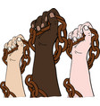 hands of different races hold the iron chain vector image