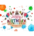 Happy Birthday greeting card hand lettering vector image