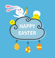 happy easter rabbit hare bunny and carrot baby vector image