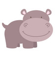 happy hippo on white background vector image vector image