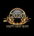 happy new year 2020 gold floral background vector image vector image