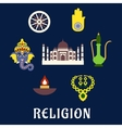 Indian religion and culture flat symbols vector image vector image