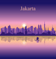 jakarta city silhouette on sunset background vector image