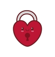 kawaii love heart padlock valentine vector image