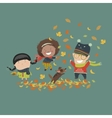 Kids playing with autumn leaves vector image vector image