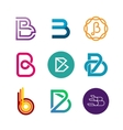 Letter B logo set Color icon templates design vector image vector image