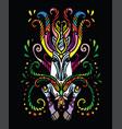 magic doodle unicorn black vector image