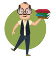 man with books on white background vector image