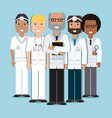 men doctor with uniform and medical tools vector image