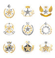 military stars emblems set heraldic design vector image vector image