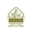 olive oil bottle label design with branch and leaf vector image vector image