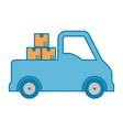 pile packing boxes carton with truck vector image vector image