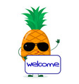 pretty cartoon character pineapple in sunglasses vector image vector image