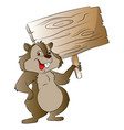 rabbit holding wooden sign vector image