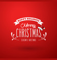 red christmas background with ribbon and merry vector image