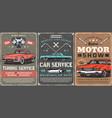 retro cars tuning service motors show vector image vector image