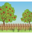 Rural landscape with apple tree vector image