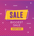 sale banner with memphis design vector image