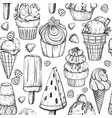 seamless pattern with ice cream and berries vector image