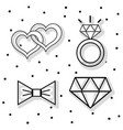 set groom and bried accesories decoration design vector image