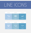 set of 6 editable animal outline icons includes vector image vector image