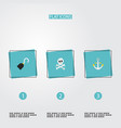 set of corsair icons flat style symbols with hand vector image