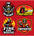 set of firefighter badge design vector image vector image