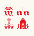 set of people believing in jesus christ vector image vector image