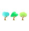 set trees watercolor vector image