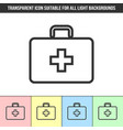 simple outline transparent first aid kit icon vector image