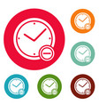 time minus icons circle set vector image