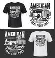 tshirt print american fire truck mockup vector image vector image