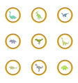 types of dinosaur icons set cartoon style vector image vector image