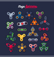 various spinners shape icons set vector image vector image