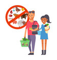 vegan couple buying healthy food vegetarian vector image