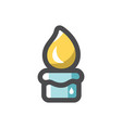 wax candel with flame icon cartoon vector image vector image