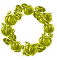 wreath with apples and leaves vector image
