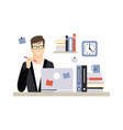 young businessman character sitting at the desk vector image