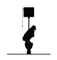 woman on toilet silhouette vector image
