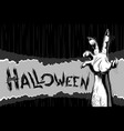 halloween background zombie hand title sigh vector image